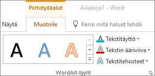 WordArt-tyylit-ryhmä