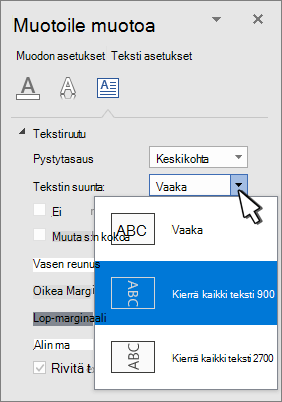 Teksti Tehosteet-paneeli, jossa tekstin suunta on valittuna