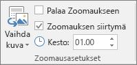 Näyttää osan tai dian zoomauksen Zoomausasetukset-ryhmän Muotoile-välilehden Zoomaus-asetukset-ryhmän PowerPointissa.