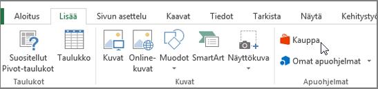 Näyttökuva Lisää-välilehdessä Excel-nauha, jossa osoitin säilön osan. Valitse Office-kauppa ja Etsi Excel-apuohjelmien säilö.