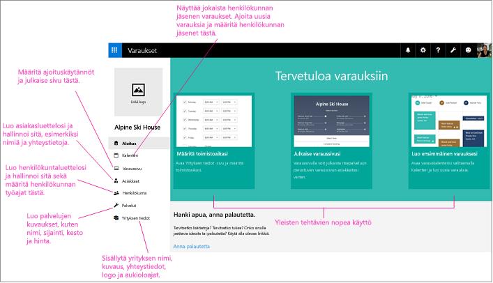 Bookings-näytön aloitussivu, jossa logon paikka ja vasen siirtymispalkki ovat korostettuina