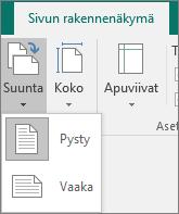 Sivun rakennenäkymä -välilehti, jossa näkyy valittu Suunta-valikko ja vaihtoehdot Pysty ja Vaaka.