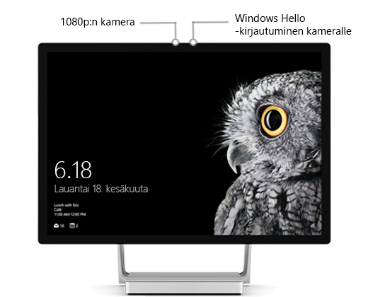 Kuva Surface Studion näytöstä, jossa merkinnät näyttävät yläreunassa olevien kameroiden sijainnin