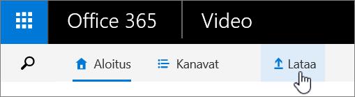 Office 365 Video -komentopalkki, jossa korostettuna Lataa.
