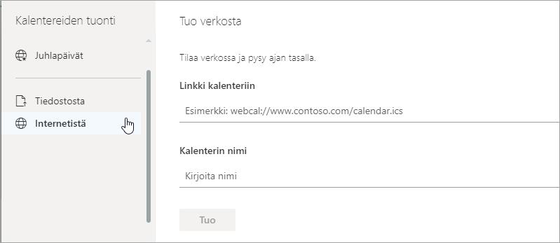 Näyttökuva web-asetus tuominen