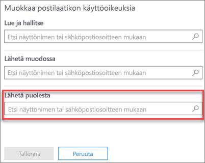 Näyttökuva: sähköpostin lähetysoikeuden antaminen toiselle käyttäjälle toisen käyttäjän postilaatikossa