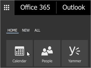 Kalenteri Office 365:n sovellusten käynnistyksessä