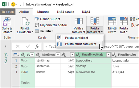Power Query > Kyselyeditori > Poista sarakkeet