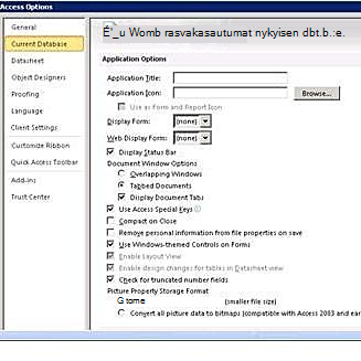 Accessin asetukset -valintaikkuna, jossa on näkyvissä nykyiset tietokanta-asetukset