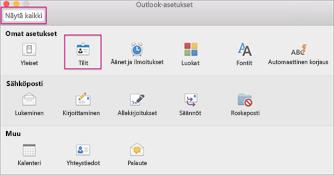 Outlookin asetukset -valintaikkuna