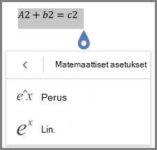 Näyttää matemaattisen yhtälön muodot
