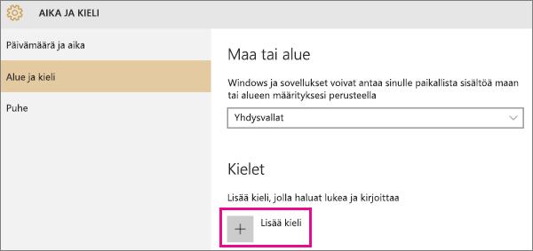 Kielen lisääminen Windows 10:ssä