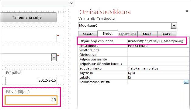 Lisää DateDiff-funktio Ohjausobjektin lähde -ominaisuusruutuun.