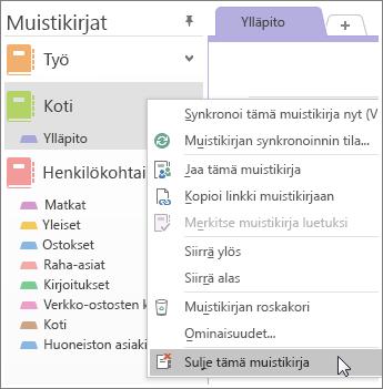 Näyttökuva muistikirjan sulkemisesta OneNote 2016:ssa.
