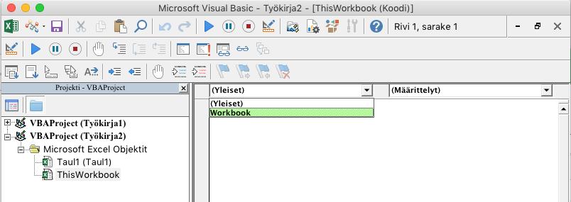 VBE-editori, jossa näkyy avattava objektinvalintaluettelo_C3_2017109141018