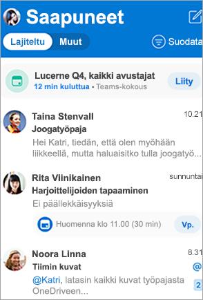 Näyttää Outlookin Saapuneet-kansion