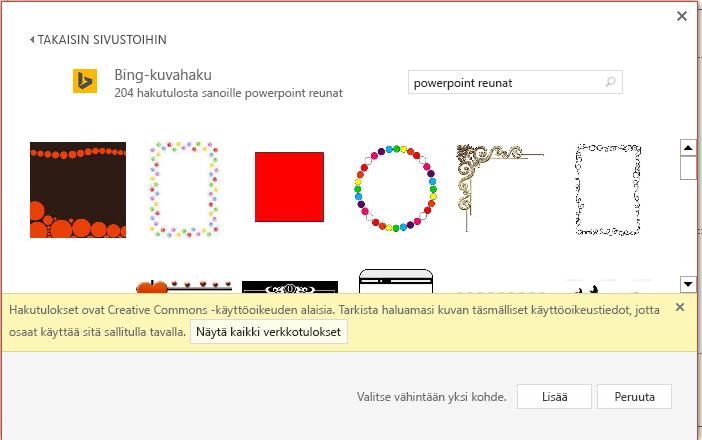 PowerPointin reunojen Bing haun tulokset.