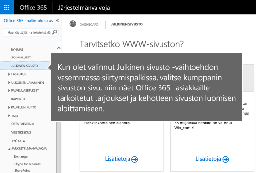 Valitse Office 365:ssä Julkinen sivusto