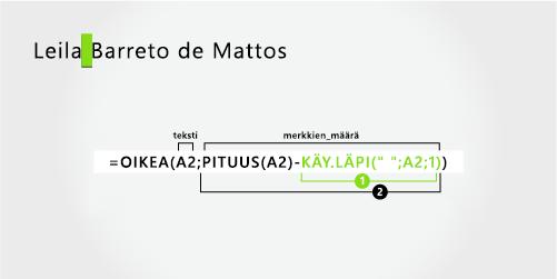 Kaava, joka erottaa etunimen ja kolmen osan suku nimen