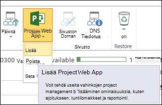 Project Web App > Lisää