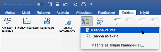 Tarkista-välilehti, jossa on korostettuna Käännä valittu teksti -valinta