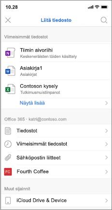 Matka Puhelin näyttö, jossa on viimeisimpien ja iCloud-tiedostojen luettelo