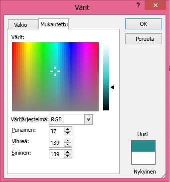 Värien mukautetun sekoituksen asetus