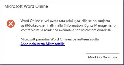 Valitettavasti Word online ei voi avata tätä asia kirjaa, koska se on suojattu sisältö oikeuksien hallinnalla (IRM). Voit tarkastella tätä asia kirjaa avaamalla sen Microsoft Wordissa.