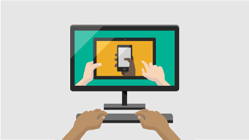 Kuva tietokoneesta, jonka näytöllä on mobiililaitteen kuva
