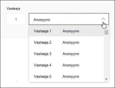 Näytä vastaajien luettelo Microsoft Formsissa