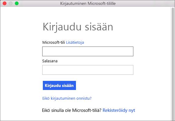 Kirjoita Microsoft-tilin tunnistetiedot, jotta voit käyttää tiliin liittyviä palveluja.