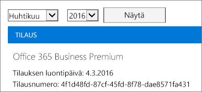 Näyttökuva Office 365 -hallintakeskuksen Laskut-sivusta.