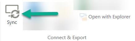 Synkronointiasetus on SharePointin valintanauhassa Avaa Resurssienhallinnassa -vaihtoehdon vasemmalla puolella.