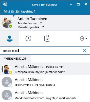 Näyttökuva Skype for Business -ikkunasta haettaessa lisättävää yhteyshenkilöä.