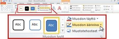 PowerPoint 2010 -valintanauhan Piirtotyökalujen Muoto-välilehti.