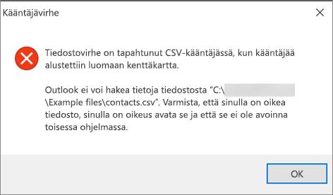 Saat tämän virheilmoituksen, jos .csv-tiedosto on tyhjä.