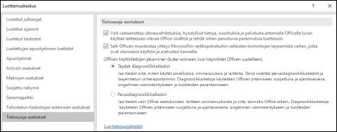 Tietosuoja-asetukset-osio Windowsin Officen Luottamuskeskuksen asetuksissa