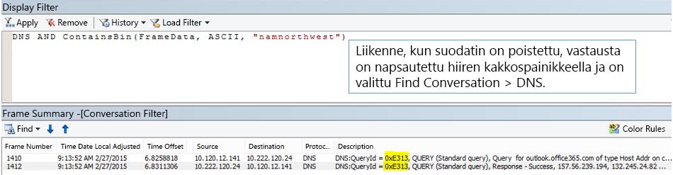 Ensin Etsi keskusteluja -vaihtoehdon ja sitten DNS:n perusteella suodatettu seuranta.