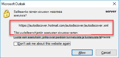 Outlook ohjaa automaattiseen etsintään