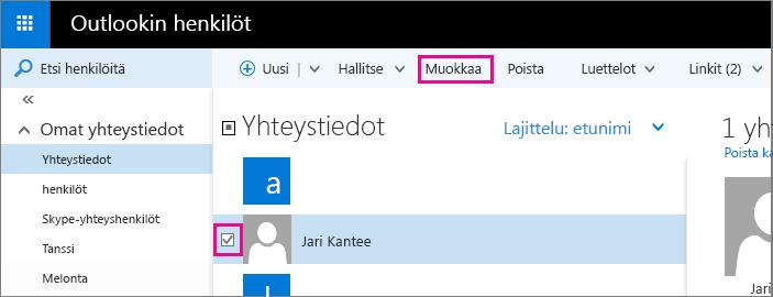 Näyttökuva Outlookin henkilösivun osasta. Näyttökuvassa on valittuna yhteyshenkilön nimen vieressä oleva valintaruutu ja siinä on kuvateksti työkalupalkin Muokkaa-komennolle.