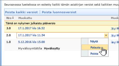Tiedoston versiotietojen avattava valikko, jossa palautus on korostettuna