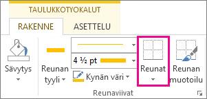 Taulukkotyökalujen Reunat-painike