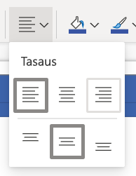 Tasaa teksti-painike Visio online-valinta nauhassa