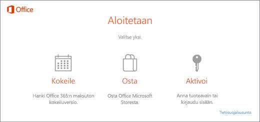 Näyttökuva oletusarvoisista kokeilu-, osto- tai aktivointivaihtoehdoista tietokoneelle, joka toimitetaan Office esiasennettuna.