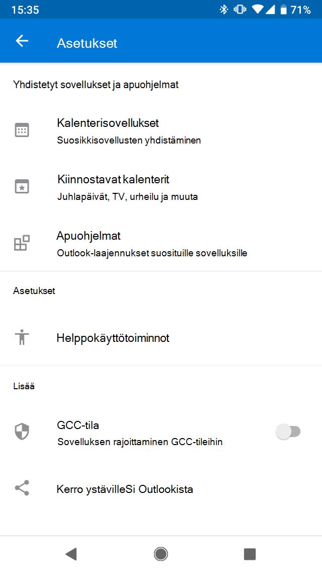 Kalenterisovellukset Outlook Mobilessa