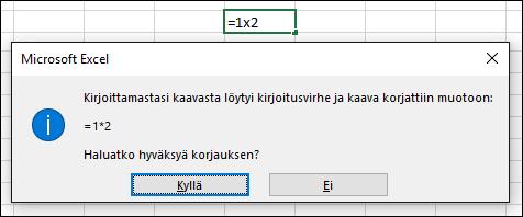 Viestiruutu, jossa pyydetään korvaamaan x-merkki *-merkillä kertolaskua varten
