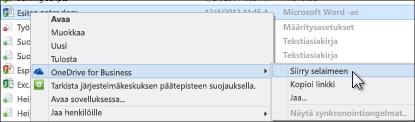 Synkronoidussa kansiossa olevan tiedoston tarkasteleminen selaimessa