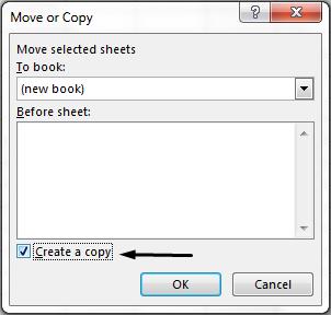 Luo kopio -valintaruutu on valintaikkunan alareunassa.