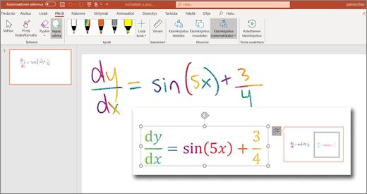 Muunna käsinkirjoitus matemaattiseksi tekstiksi