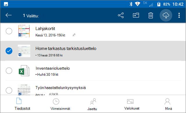 Merkitse OneDrive-tiedostot offline-tilaan